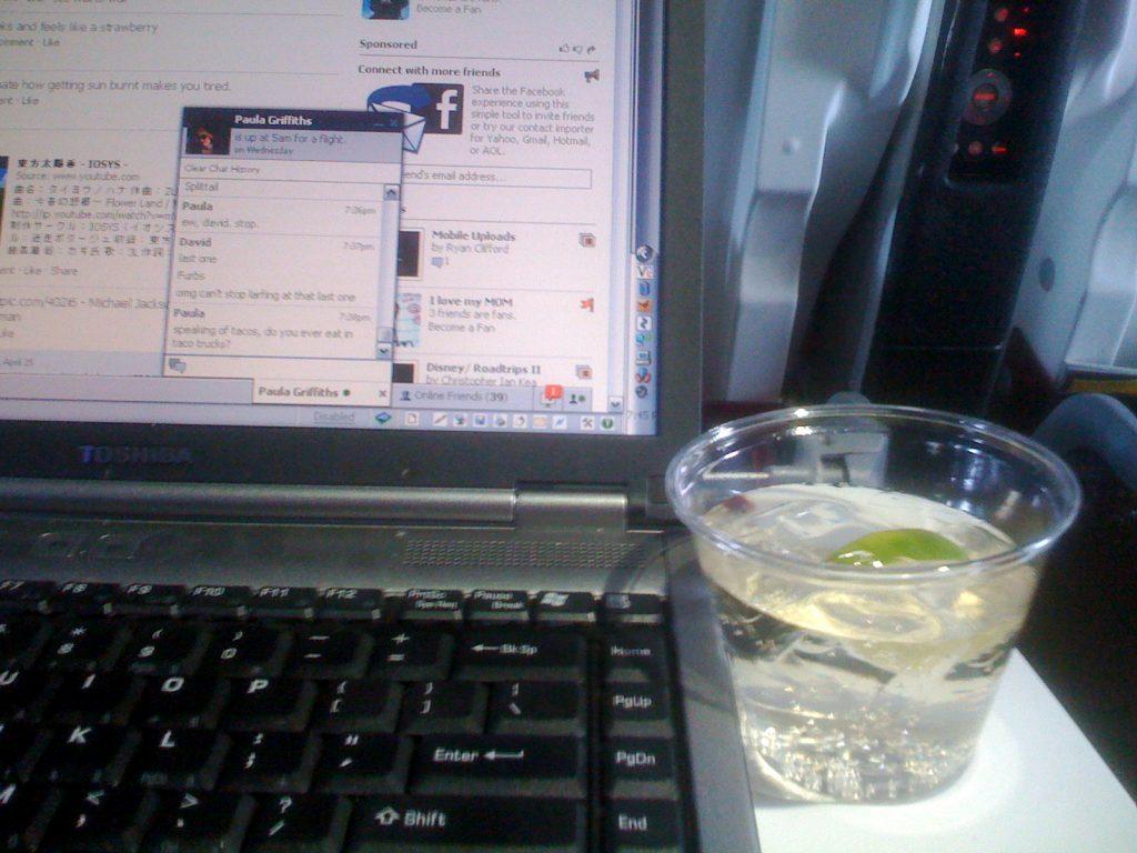 Laptop in flight