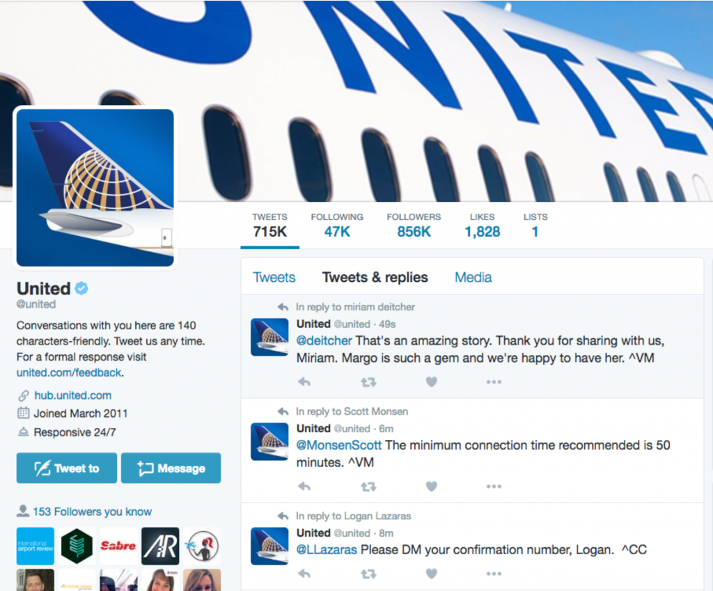 Airline and airport social customer service